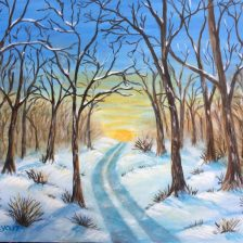 Winter Morning 14x11 canvas panal