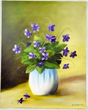 Violets in the vase 16x20 stretched canvas