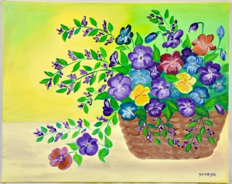 Pansies 20x16 stretched canvas