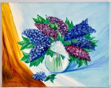 Bouquet of Lilacs 20x16 stretched canvas