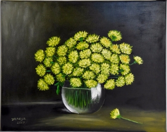 Yellow Mums 20x16 stretched canvas