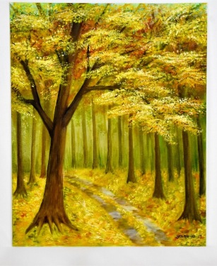 Fall forest 16x20 canvas panel