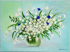 Spring Wildflowers 24x18 stretched canvas
