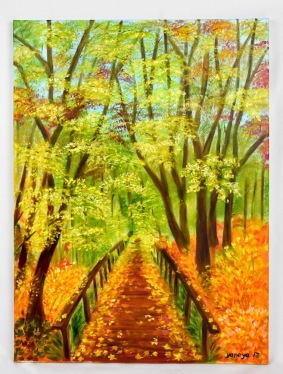 Autumn forest 18x24 stretched canvas