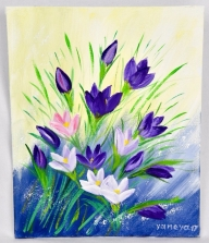 Purple Snowdrops 8x10 canvas panel