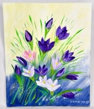 Purple Snowdrops 8x10 canvas panel