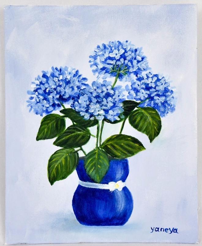 Hydrangea in Blue vase 8x10 canvas panel