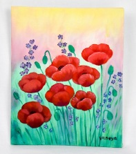 Red Poppies 8x10 canvas panel
