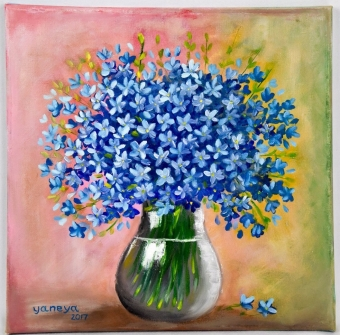 Blue wildflowers 12x12 stretched canvas