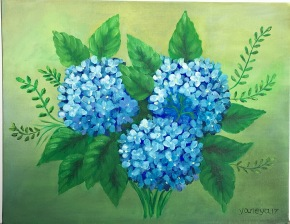Light Blue Hydrangea 14x11 canvas panel