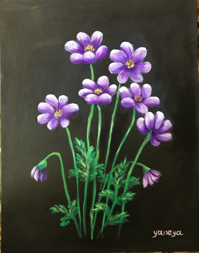 Purple Daisy 11x14 canvas panel