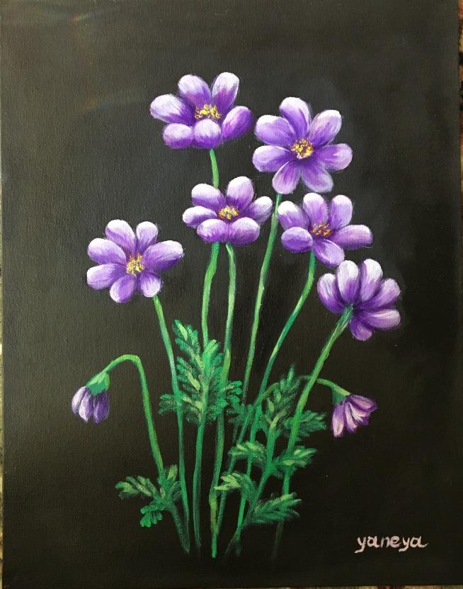 Purple Daisy 11x14 canvas panel