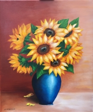 Sunflowers in a blue vase 20x24 stretched canvas sold