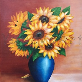 "Sunflowers in a blue vase - commission (oil on 20x24"")"