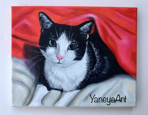"Cat Painting - $65 (oil on 10x8"")"
