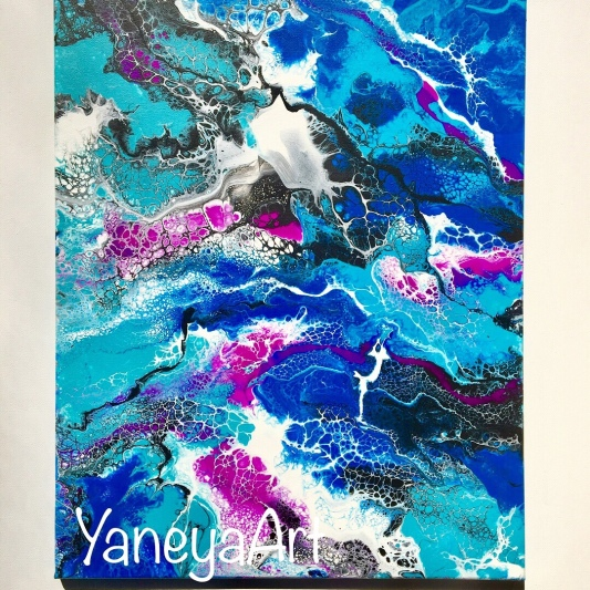 """Colorful Abstract Acrylic Painting - $112 (16x20"""")"""