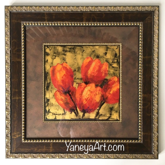 "Tulips for a Loved one (2) - sold (12x12"" plus frame)"