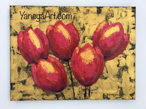 "Tulips for a Loved one - $310 (acrylic on 24x18x1.5"")"