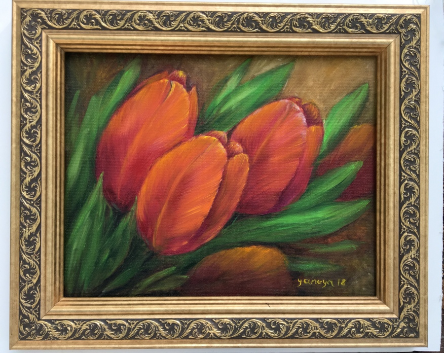 """Red Tulips - $125 (oil on 14x11"""" canvas panel)"""