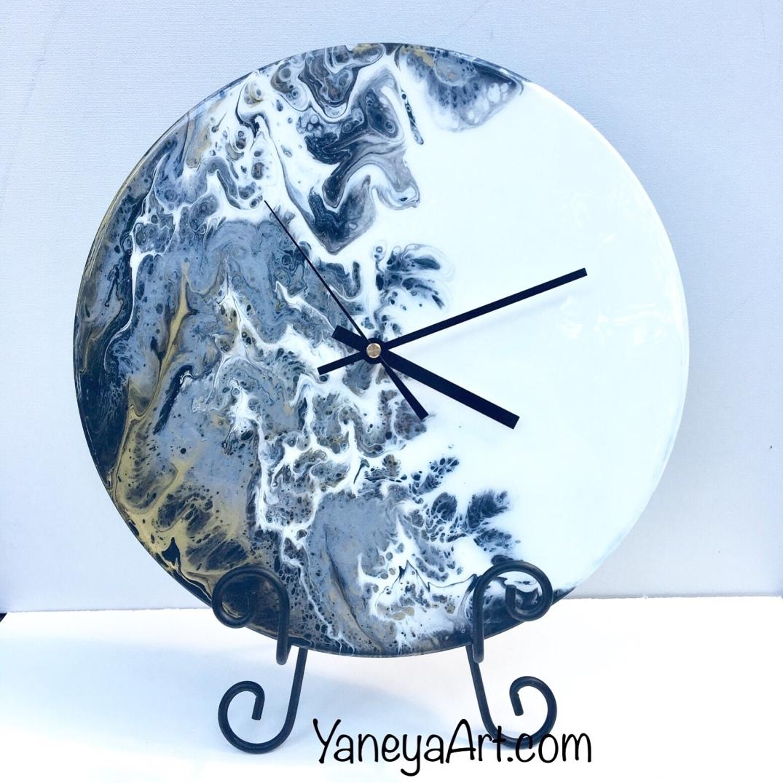 "Silver Lines   - 12"" vinyl record clock (sold)"