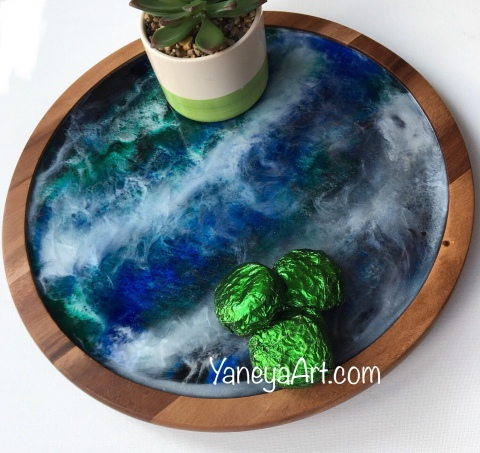 "12"" ""Ocean"" Wooden Resin Lazy Susan – $75"