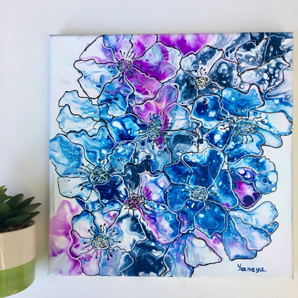 "Blue abstract flowers - $50 on 12x12"" canvas (resin)"