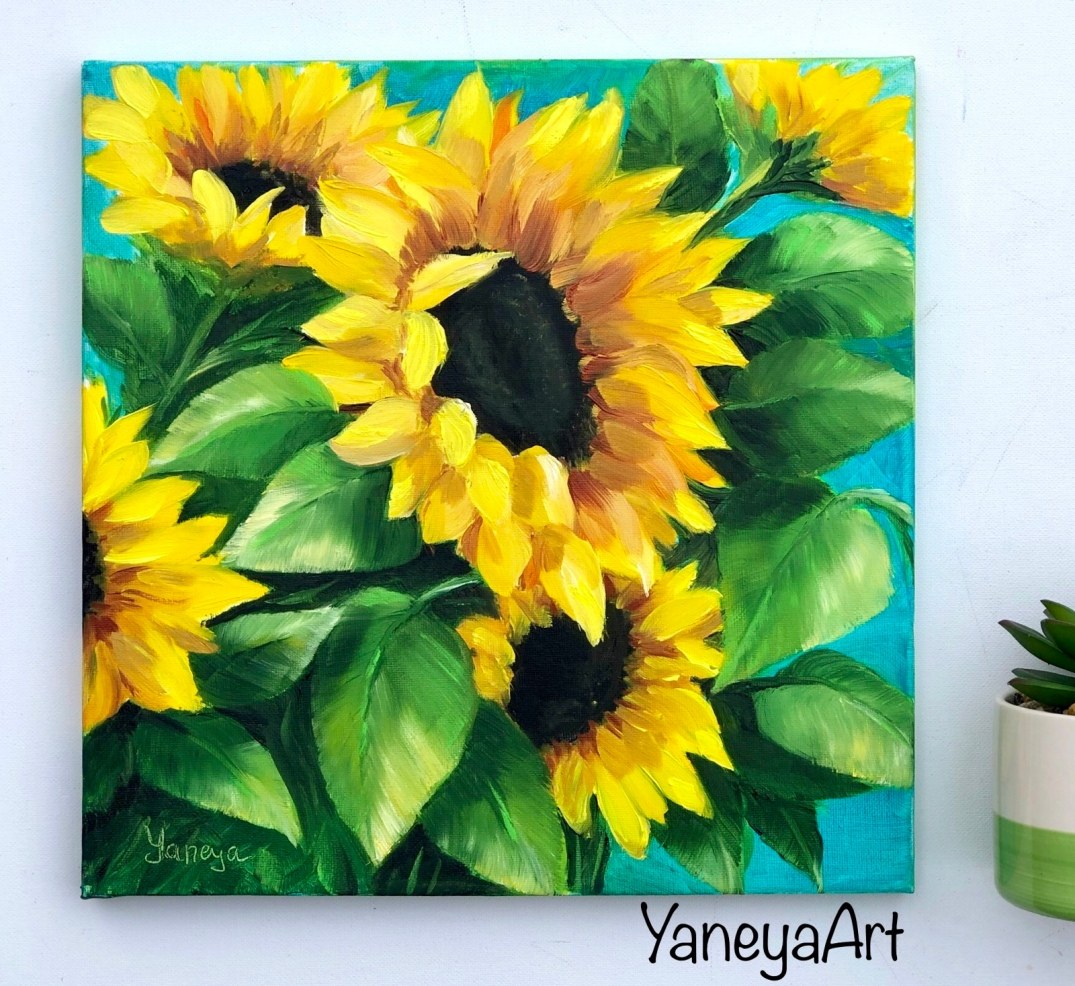 """Sunflowers in the wind - 12x12"""" oil"""